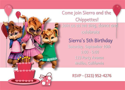 Chippettes Birthday Party Invitation