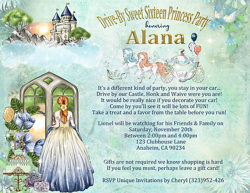 Sweet 16 Drive-By Princess Invitation (sold in sets of 10)