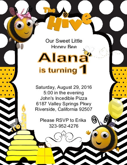 The Hive Yellow & Black Birthday Party Invitation