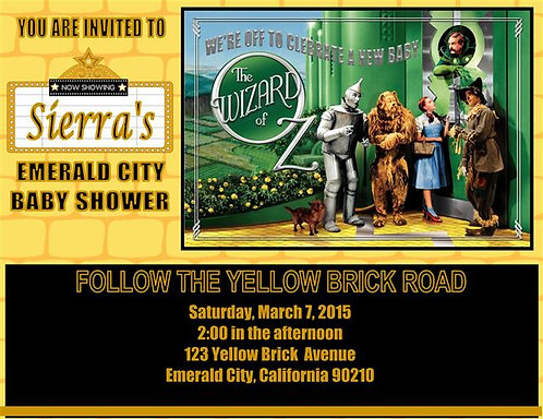 Wizard of Oz Baby Shower Invitation