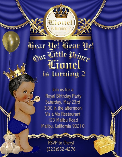 Little Prince African American Birthday Party Invitations
