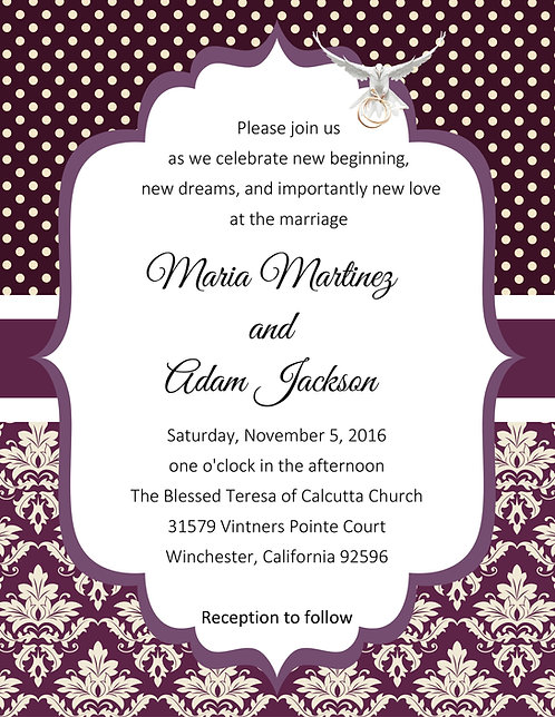 Damask Eggplant Wedding / Event Invitation