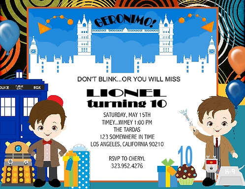 Dr Who Boy Birthday Party Invitations