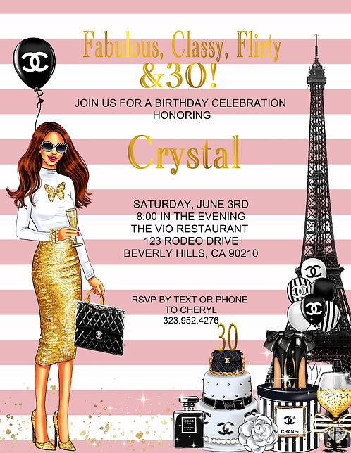 Chanel Birthday Redhead Party Event Invitation (sold in sets of 10)