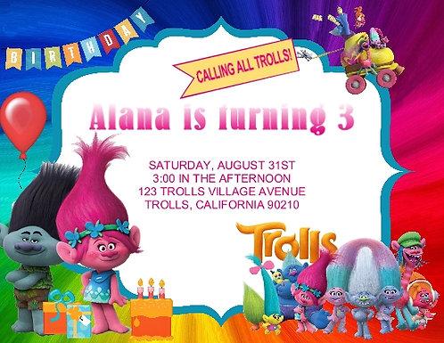 Trolls Birthday Party Invitation