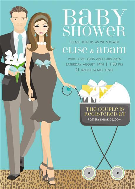 Blue Couples Stroller Baby Shower Invitation