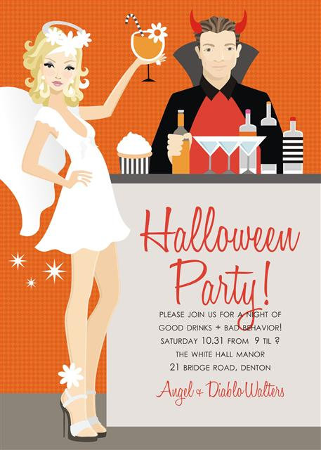 Blonde Angel + Devil Halloween Party and  Event Invitat