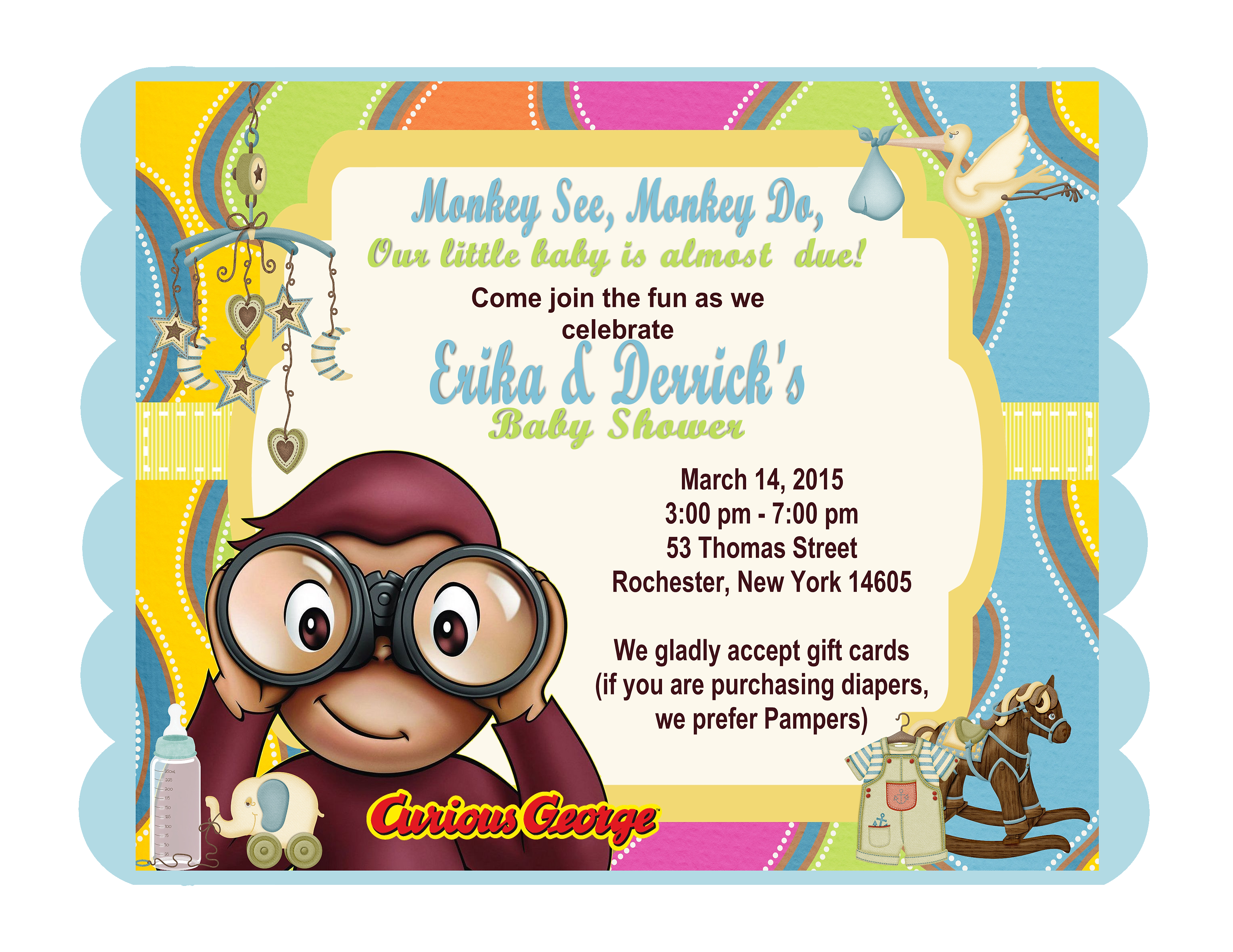 Unique invitations by cherylcherylsinvitationsmoreno valley curious george keepsake baby shower bottles card invitations filmwisefo Image collections