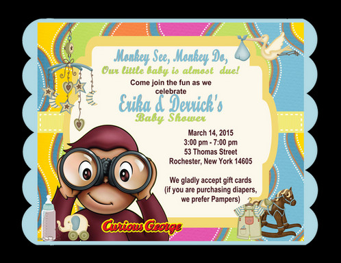 Curious george baby shower invitation unique invitations by cheryl curious george keepsake baby shower bottles card invitations filmwisefo