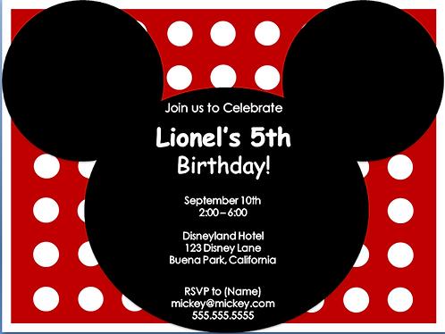 Mickey Birthday Party Invitation