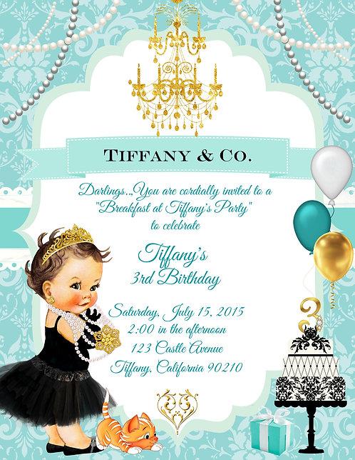 Breakfast at Tiffany Girl's Birthday Invitation (sold in sets of 10)