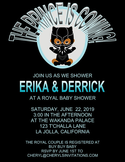 Black Panther Prince Baby Shower Invitations (sold in sets of 10)