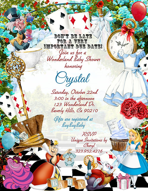 Alice in Wonderland Garden Baby Shower Invitations (sold in sets of 10)