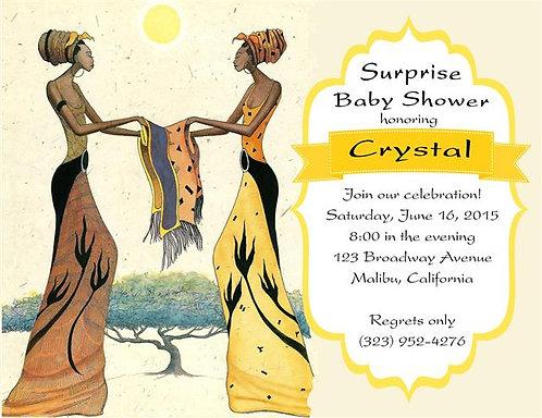 Ebony Sisters  Baby Shower Invitation