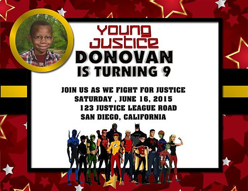 Young Justice BirthdayParty Invitation