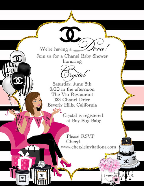 Chanel Diva Too Baby Shower Invitations (sold in sets of 10)