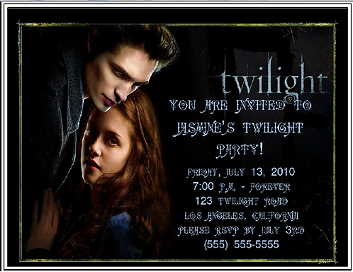 #1 Twilight Party Invitation Bottle and  Event Invitations