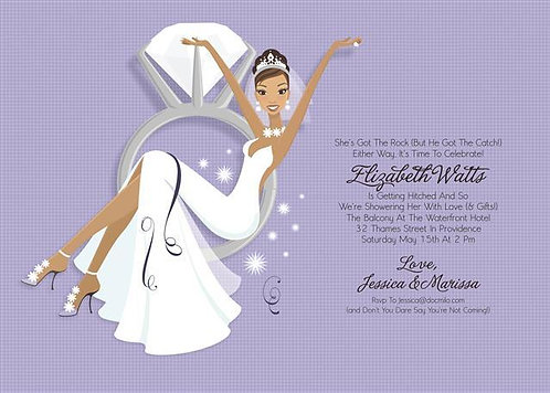 Swing from a Diamond Ring African American Bridal Shower and  Event Invitation
