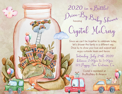 2020 in a Bottle Drive-By Baby Shower Invitations (sold in sets of 10)