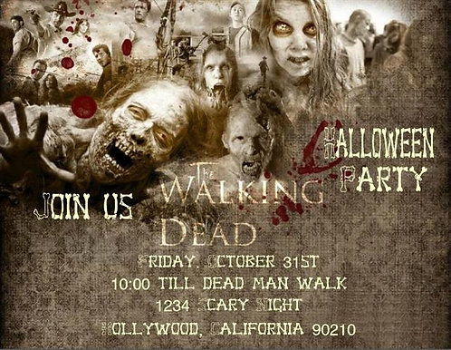 Walking Dead Halloween Party and  Event Invitation