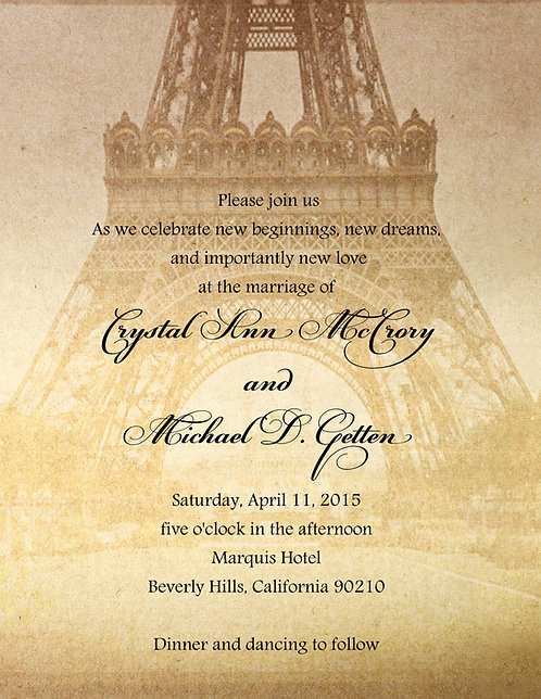 Eiffle Tower Wedding / Event Invitation