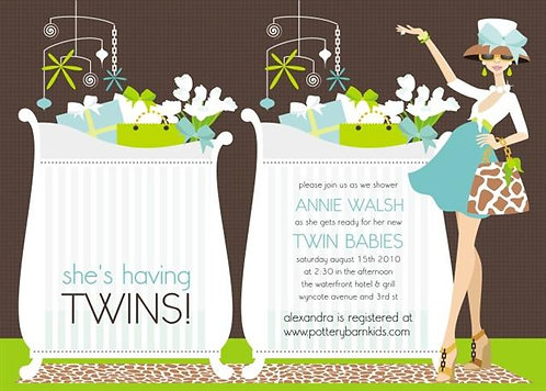 Blue Chic Mom Twins Baby Shower Invitation
