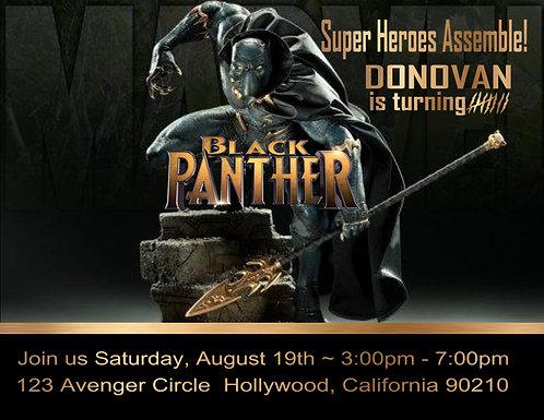 Black Panther Birthday Party Invitation