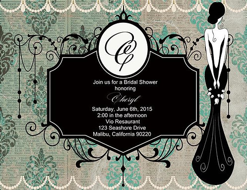 Deco Bridal Shower and  Event Invitation