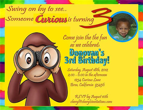 #3 Curious George Turning 3 Birthday Party Invitation