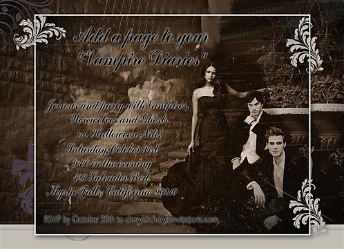 Vampire Diaries Costume Halloween Party and  Event Invitat
