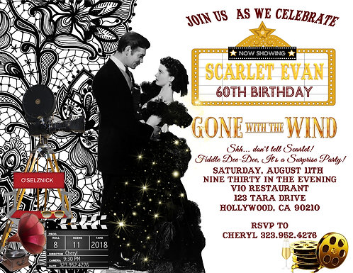 Gone with the Wind Birthday Party and  Event Invitation (sold