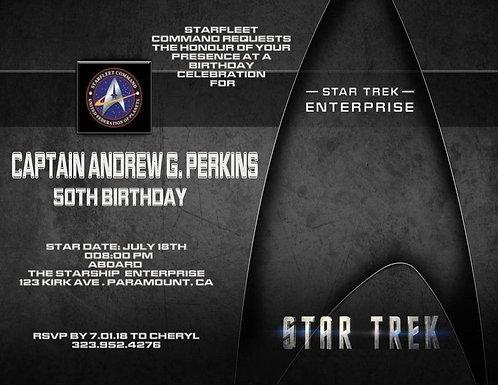 Starfleet Star Trek Birthday Party and  Event Invitation (sold in sets of 10)