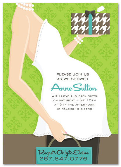 Blue Baby Belly Shower Invitations