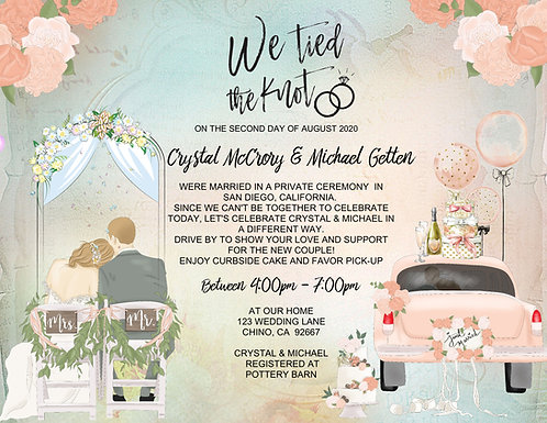 """""""We Tied the Knot"""" Drive-By Invitation (sold in sets of 10)"""