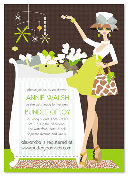 Green Chic Crib Mom Baby Shower Invitation