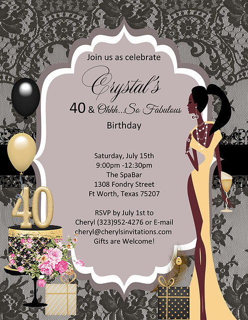 African American Golden 40 and Fabulous Party and  Event Invitations