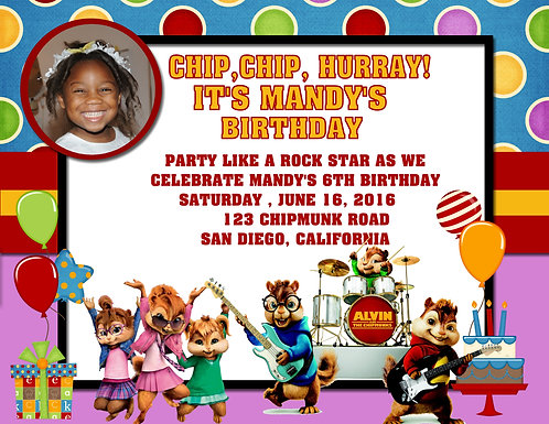 #2 The Chipmunks & Chippettes Birthday Party Invitation