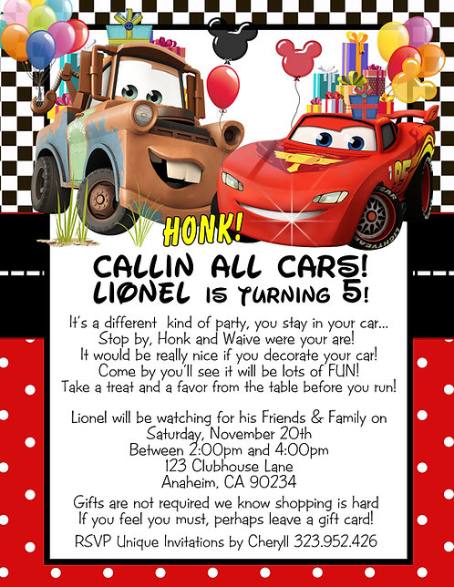 Callin' All Cars Drive-By Birthday Party Invitation (sold in sets of 10)