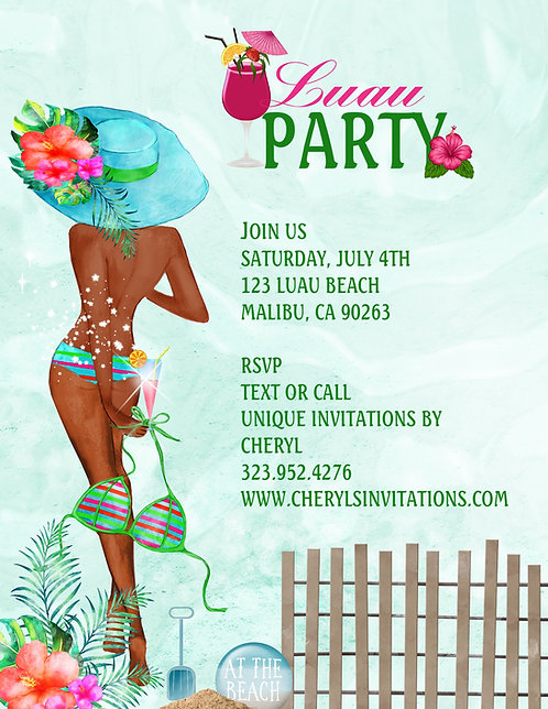 African American Luau Beach Party Invitation (sold in sets of 10)