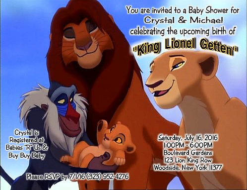 #5 Lion King Baby Shower Invitations