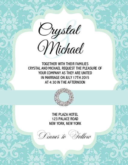 Tiffany Damask Wedding / Event Invitation