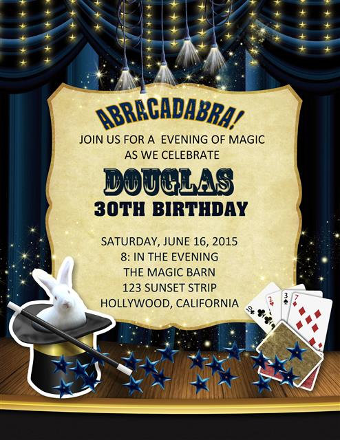 Adult Magic Show Birthday Party and  Event Invitation