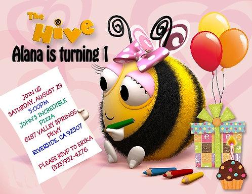 The Hive Pink  Birthday Party Keepsake Bottle Invitation