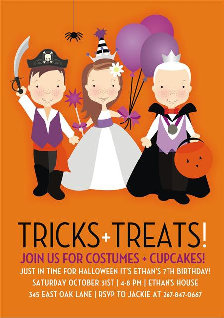 Children Costume Halloween Party and  Event Invitat