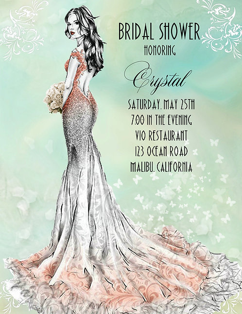 Misty Bridal Shower Party and  Event Invitation