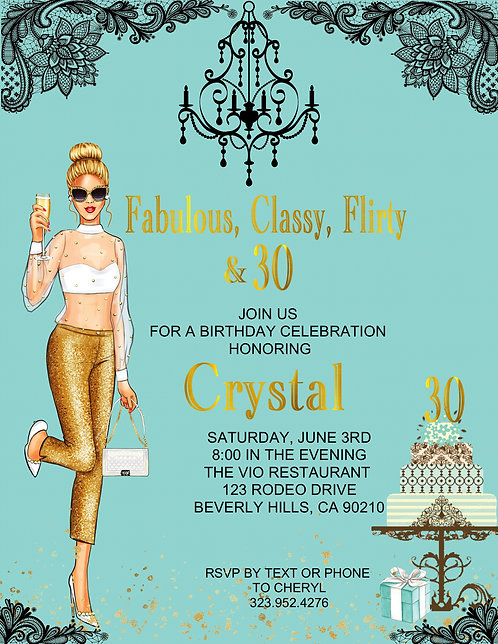 Tiffany Designer Birthday Party Blonde Event Invitation (sold in sets of 10)
