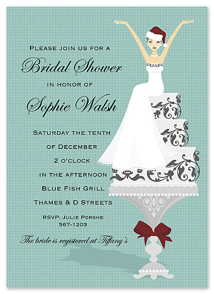 Holiday Cake Lady Bridal Shower and  Event Invitation
