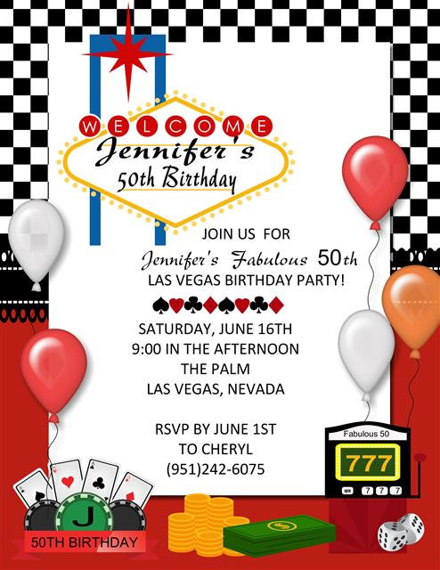 Las Vegas Birthday Party and  Event Invitation