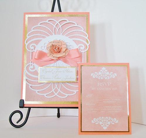 Elegant Coral Vernise Lace Wedding / Quinceañera  Invitation