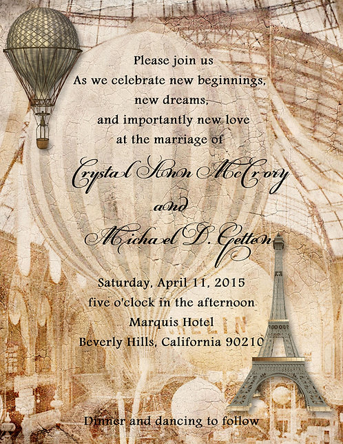 Paris Balloon Wedding / Event Invitation